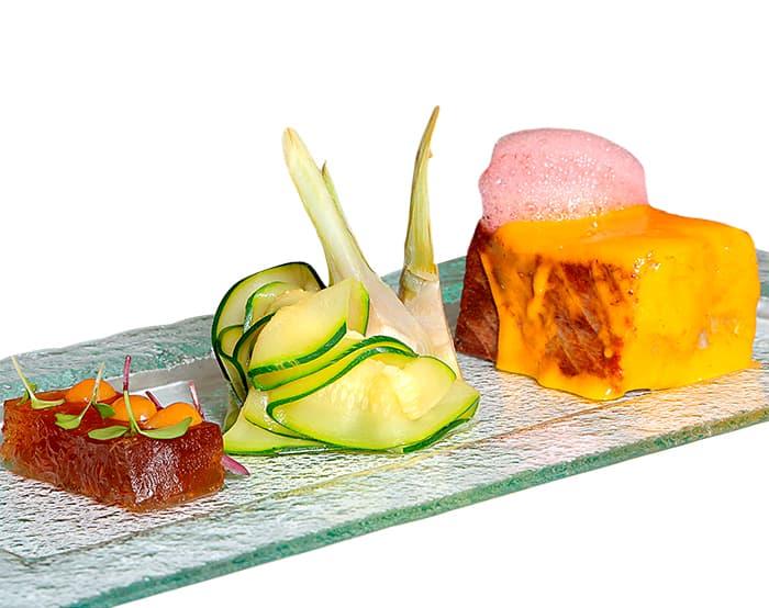 segundos platos restaurante chane taco de atun rojo y emulsion de yuzu rubia